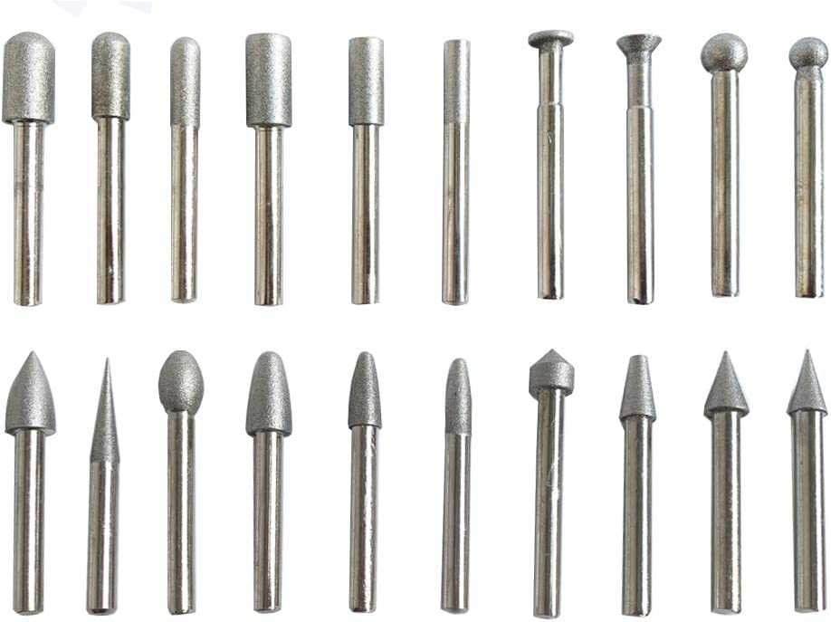 """120-150 grit 20 Diamond Burr Bits Set 1//8/"""" Shank for Rotary Tool Carving Drills"""