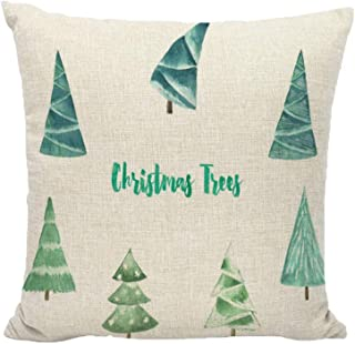 Unionm 89# Pillow Covers Christmas Decor Throw Pillow Case Flax White Beige Simple Tree Santa Claus Merry Christmas Square 45 x 45 cm 18 x 18 inch Cushion Cover for Home Sofa Car 1 Pack - 2