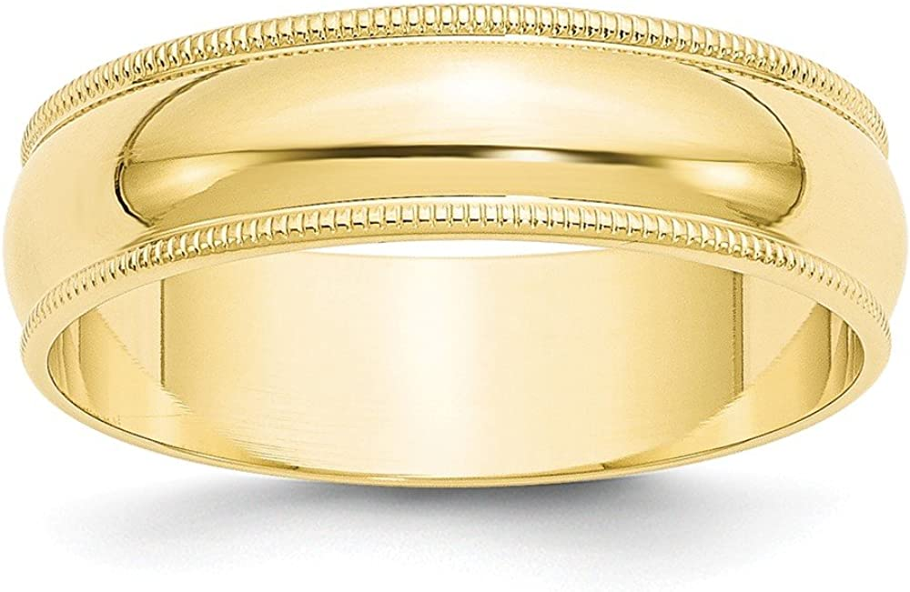 10k Yellow Gold 6mm Milgrain Half Round Wedding Ring Band Size 13.5 Classic Fine Jewelry For Women Gifts For Her