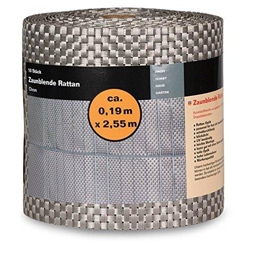 Noor PVC zichtwering strepen rotan, Kleur: Chroom 2,55 meter x 19 cm, hek folie