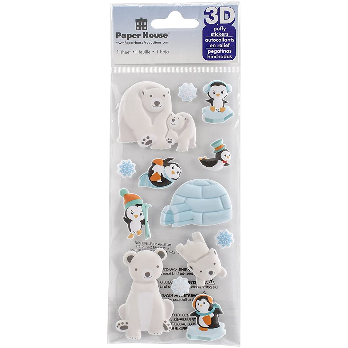 Paper House Productions STP-0029E Polar Animals Puffy Stickers (3-Pack)