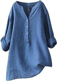 Writtian Damen Hemd Bluse Rundhalsausschnitt große größen Langarm Shirt Freizeit Oberteil Elegant Top Einfarbig Leinen Top Bowknot Lace Up Tunika Casual Täglichen