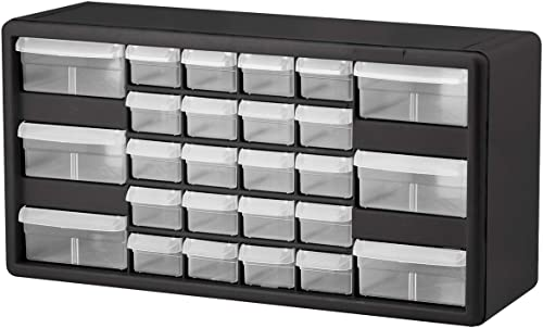 Akro-Mils 26 Drawer 10126, Plastic Parts Storage Hardware and Craft Cabinet, (20-Inch W x 6-Inch D x 10-Inch H), Black