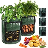 Paquete de 3 bolsas de cultivo de patatas de 10 galones, bolsas de cultivo de verduras con agujeros de drenaje y solapa de acceso y asas, bolsa de jardín para cultivar, bolsas de plantas.