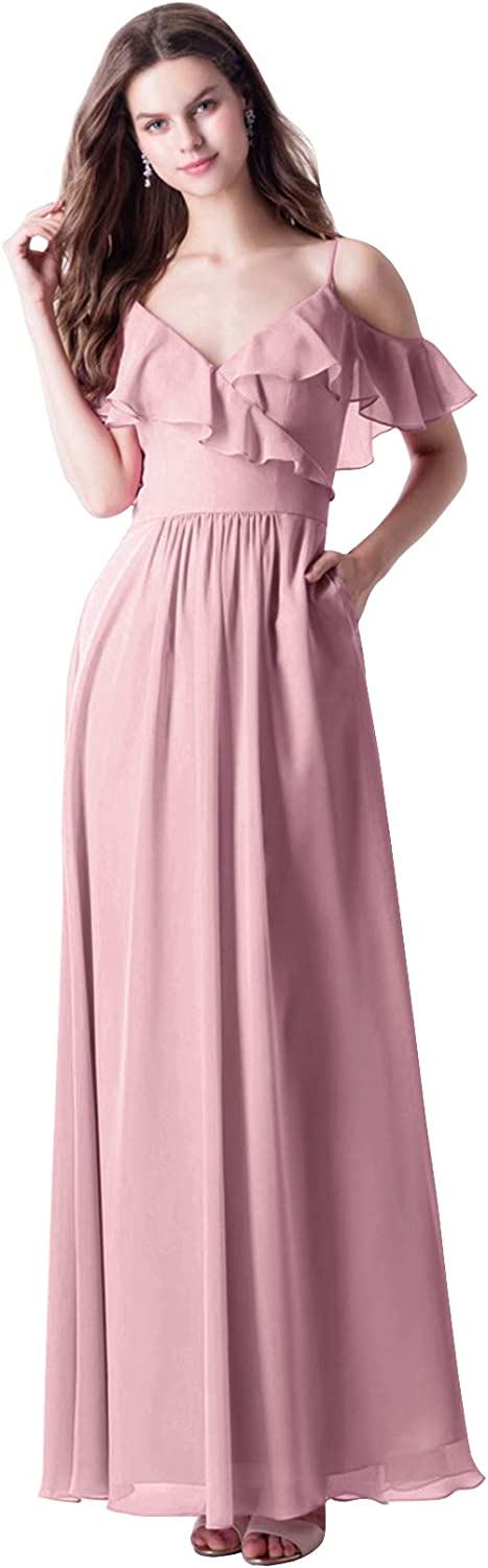 WuliDress Women's Off The Shoulder V Neck Bridesmaid Dresses Long A Line Ruffles Chiffon Formal Evening Gowns with Pockets