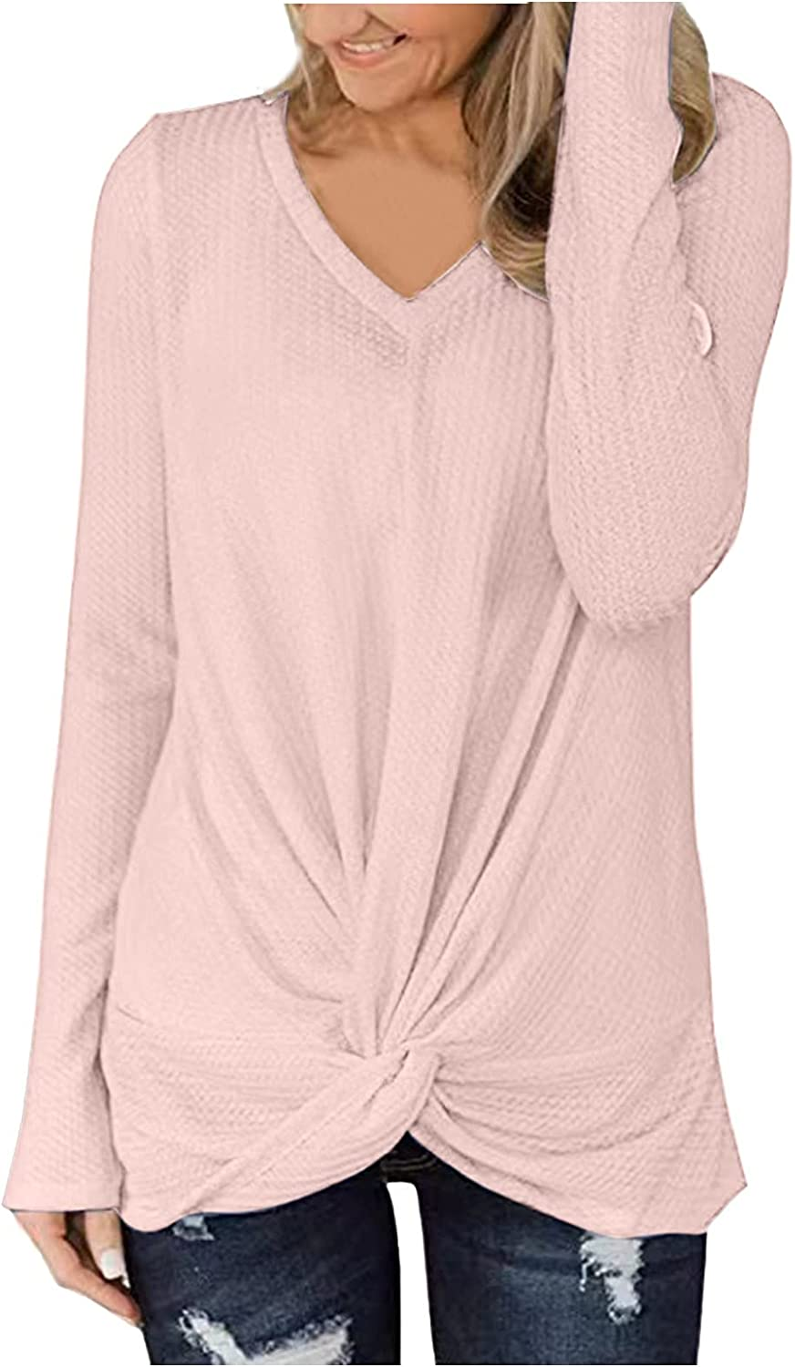Long Sleeve Blouse for Women, V Neck Casual Loose Solid Color Front Twist Knot Tunics Sweatshirts Top