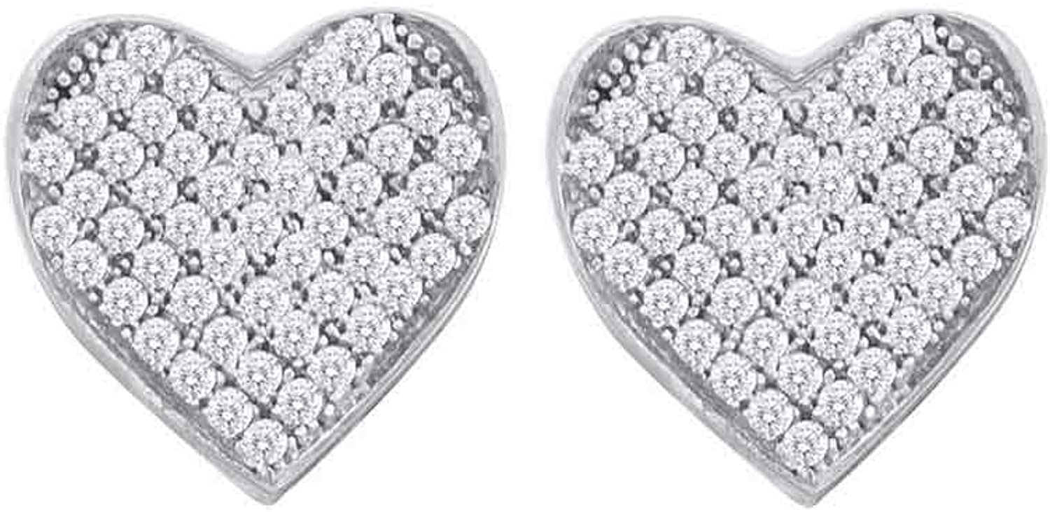 10kt White gold Womens Round Diamond Heart Cluster Screwback Earrings 1 10 Cttw