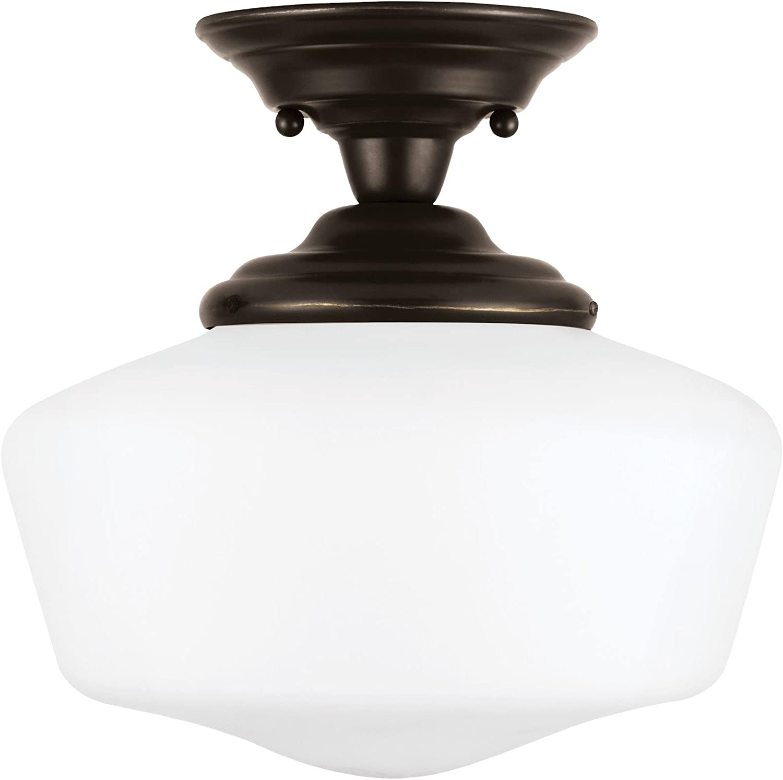Sea Gull Lighting 77436EN3-782 Academy Medium One-Light Semi-Flush Mount with Satin White Glass Shades, Heirloom Bronze Finish