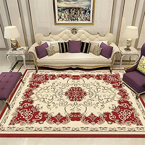 Kunsen alfombras de Pasillo Alfombra Dormitorio Juvenil Alfombra del vestíbulo de la habitación del Hotel Estera Rectangular Beige Rojo Antideslizante para alfombras 200x250cm 6ft 6.7' X8ft 2.4'