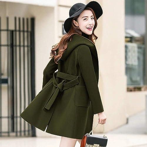 SHKAC Manteau Manteau d'hiver Long Et Ample avec Chapeau Lourd Vert Militaire M
