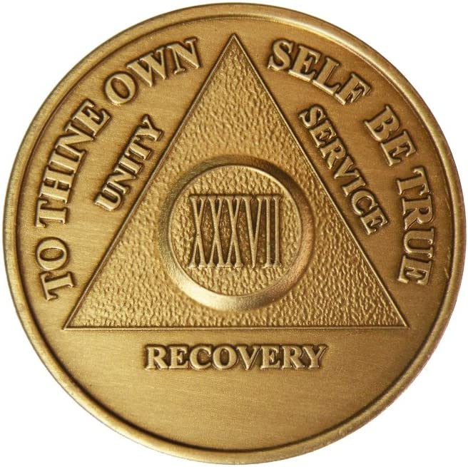 37 Year Very popular! Fort Worth Mall Bronze AA Alcoholics Anonymous - Bi Sober Sobriety
