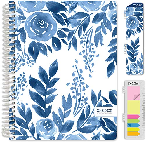 "HARDCOVER Academic Year 2020-2021 Planner: (June 2020 Through July 2021) 8.5""x11"" Daily Weekly Monthly Planner Yearly Agenda. Bonus Bookmark, Pocket Folder and Sticky Note Set (Blue Bloom)"