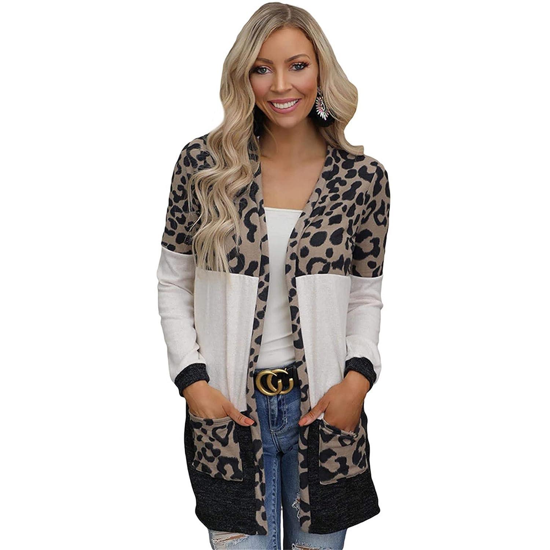 Women's Long Sleeves Leopard Print Knitted Sweater Cardigan Coat Outwear with Pockets Open Front Knit Cardigans Outwear (XX-Large,Leopard 1)