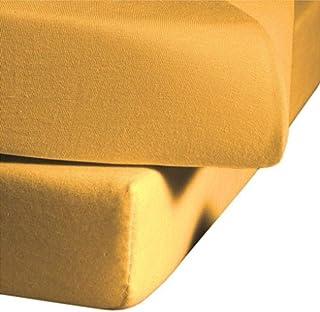 fleuresse 1115-2349 Drap-housse élastique infroissable en jersey 100% coton 100 x 200 cm Jaune or