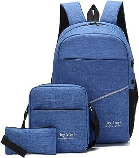 青島通 スリーピース学生バックパックコンピューターバッグブルーUSB充電/ヘッドフォン穴ビジネスレジャー旅行屋外ファッションポータブル 絶妙