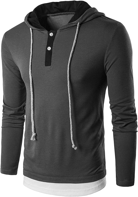 Men's Casual Long Sleeve Pullover Hoodies Drawstring Pullover Collarless Shirts
