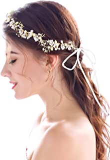 Yean Wedding Headband Flower Gold Rhinestones Twig Headpieces Boho Bridal Hair Vine Accessories with Ribbon for Brides and Bridesmaids - 15.74''