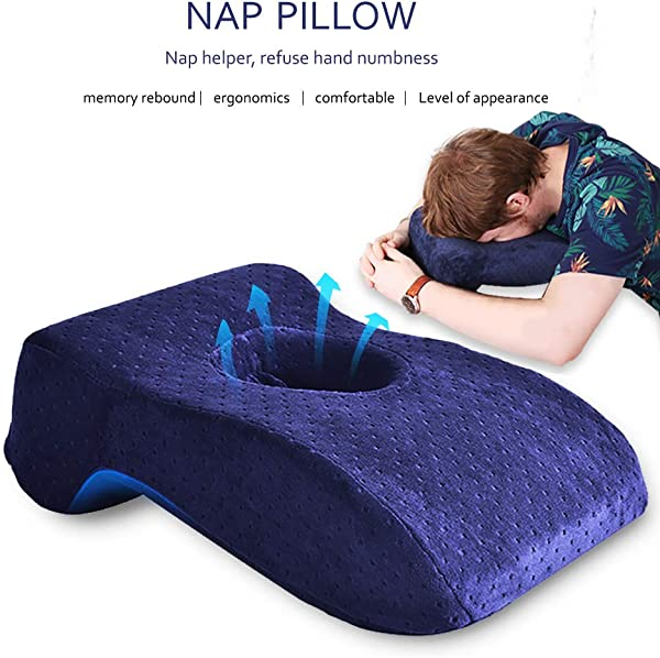 SOMIDE Nap Sleeping Face Pillow Memory Foam Slow Rebound Face Down Desk Pillow Sleeper Back Support Hollow Design Removable Washable Velvet Cover Blue