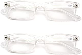 2 Pairs Casual Fashion Rectangular Reading Glasses - Stylish Simple Readers Rx Magnification