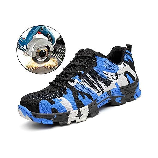 SUADEX Mujer Hombre Zapatillas de Seguridad Punta de Acero Camuflaje Zapatos de Trabajo Entrenador Unisex Zapatillas de Senderismo con Cordones Ligeras