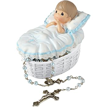 Precious Moments, Baptized In His Name Resin Box With Rosary, For Boy, 153407