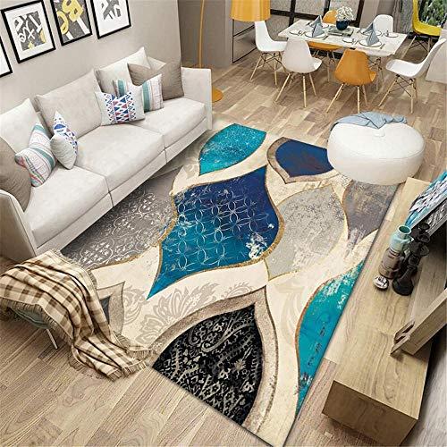 Alfombra habitacion Juvenil Azul Gris Negro Retro Alfombra Antideslizante Suave salón. Decoracion Entrada recibidor Antideslizante alfombras 60*160cm
