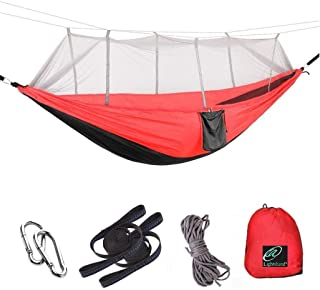 Lightahead Parachute Portable Camping Hammock (with Removable Mosquito Net) Including Straps,  Carbines & Rope– Heavy Duty Lightweight Best Nylon, Parachute Hammock For Camping,  Travel,  Garden etc.
