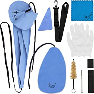 Petift Saxophone Cleaning Care Kit,10-in-1,Sax Cleaning Kit for Flute Wind Instrument Includes Sax Swab,Cleaning Cloth,Glo...
