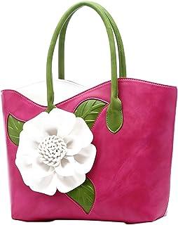 ABage Women's PU Leather Purse Vintage 3D Flower Tote Top Handle Crossbody Handbag