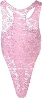 IWEMEK Men's Lace Bodysuit Floral Briefs See Through Singlet Sissy Mesh Mankini Sheer Leotard Underwear Backless Vest Slee...