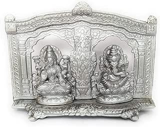 athizay Lakshmi Ganesh Idols 15 cm Tall Silver Matt Finish Texture Engraved Darbar for Diwali Pujan God Idols and Home Decoration (Silver)