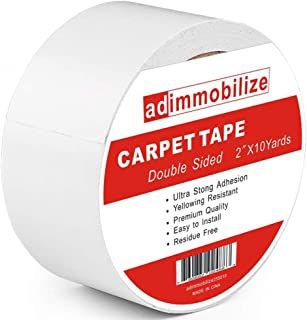 adimmobilize Carpet Tape Double Sided,2-Inch x 10 Yards,Anti Slip Two Sided Tape for Stair Treads, Rugs, Runners, Mats, Pads, Strong Indoor Gripper Adhesive Tape for Hardwood, Tile, Laminate Floor