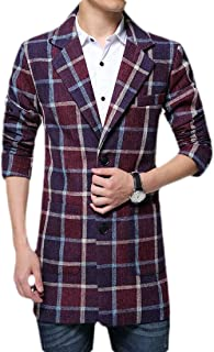 Men's Plaid Trench Coat Long Sleeve Long Wool Peacoat Overcoat