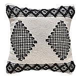 LaLe Living Funda de cojín Petek Boho estampado, color blanco, marfil y negro, de algodón, 45 x 45 cm