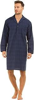 Mens Traditional Long Stripes 100% Pure Cotton Night Shirt Boys Casual Long Sleeves Sleepwear Daily Use Night Dress Dark B...