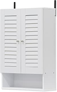FURINNO Indo Double Door Wall Cabinet, 19.7 Inch, White