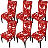 GoodtoU Chair Covers for Dining Room Christmas Dining Chair Slipovers Christmas Decorations for Home Dining Kitchen(Set of 6,Snowflakes Deer)