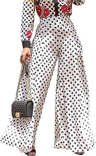 Women Stretchy Dot Print Wide Leg Palazzo Pants