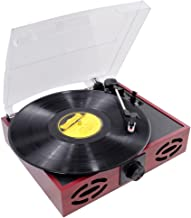 Upgraded Version Pyle Vintage Record Player, Classic Vinyl Player, Retro Turntable, MP3 Vinyl, Music Editing Software Included, RCA Output, USB Cable, MP3 Converter,  3 Speed - 33, 45, 78