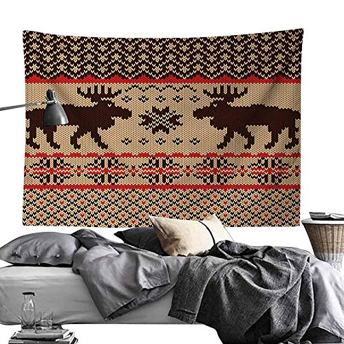 gygygys Tapestry Cabin Decor,Knitted Swatch with Deers and Snowflakes Classic Country Plaid Digital Print,Brown Tan Red,W90 xL60 Sleeping Tapestry