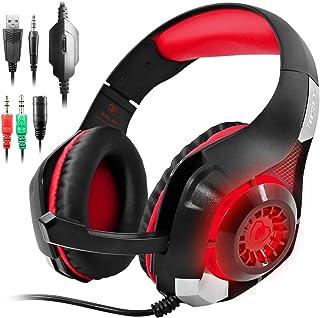 GM-1 Auricular para Juegos de PS4 Xbox One Tablet PC Celular, Estéreo LED Retroiluminada Auriculares con Micrófono por AFUNTA-Rojo