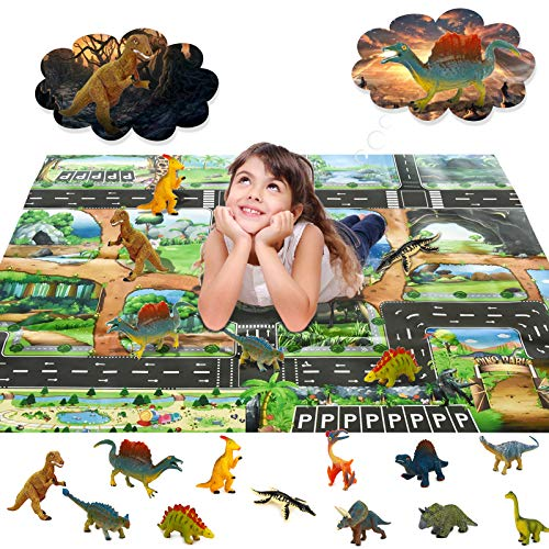 Dinosaur Toy Figure Activity Play Mat, Chalpr Educational Realistic Dinosaur Playset to Create a Dino World Including Pterodactyl, Triceratops, Velociraptor, Perfect Gifts for Kids, Boys & Girls