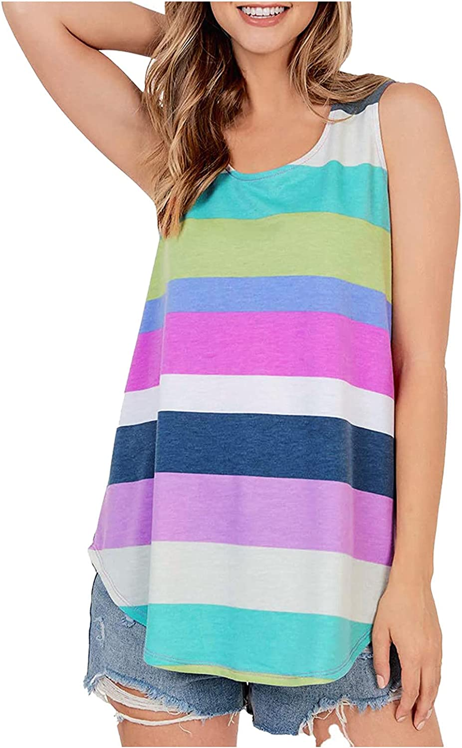 Daring Z Women's 70% OFF Outlet online shop Summer O-Neck Solid Color Tank Tops Sleeveless