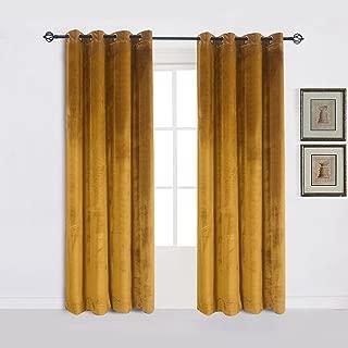 Super Soft Luxury Velvet Set of 2 Warm Yellow Blackout Velvet Energy Efficient Grommet Curtain Panel Drapes Ginger Mustard Curtain Panels 52Wx72L(2 panels)