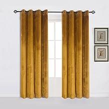 Cherry Home Super Soft Luxury Velvet Set of 2 Warm Yellow Blackout Velvet Energy Efficient Grommet Curtain Panel Drapes Gi...