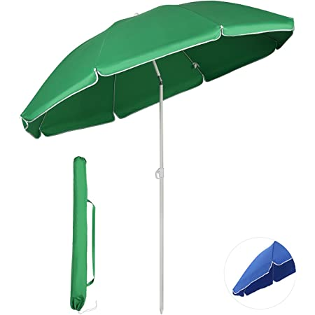 Sekey ビーチパラソル チルト機能付き 直径160cm×高さ195cm 海用傘 日除け UVカット 汎用 アウトドア 庭・海辺・キャンプ・バーベキュー
