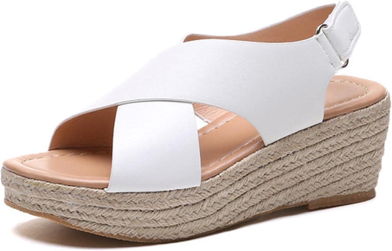 DaVanck Fashion All-Match Women's Sandals 2021 Summer Simple Beach Shoes Women's Comfortable Slope with Roman Sandals Women White