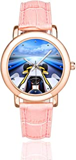 InterestPrint Bolide Driving High Speed Road Women's Rose Golden Watches Pink Leather Strap Watch