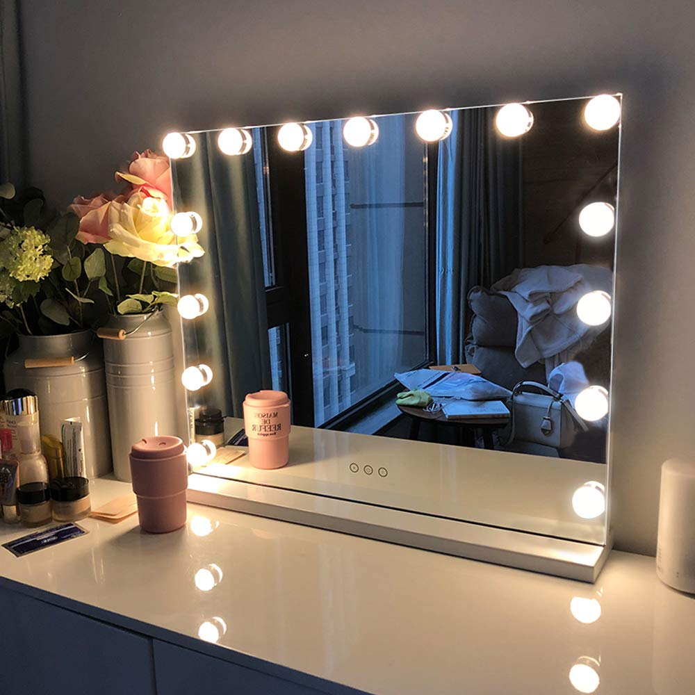 Amazon Com Fenchilin Large Vanity Mirror With Lights Hollywood Lighted Makeup Mirror With 15 Dimmable Led Bulbs For Dressing Room Bedroom Tabletop Or Wall Mounted Slim Metal Frame Design White Beauty