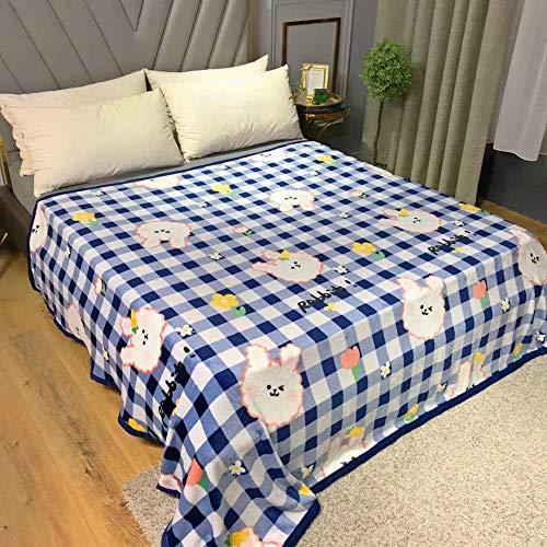 Bbrand Flauschige Deckewarm Cosy Rabbit Fur Throws Für Sofa Superweiche, Nicht Vergossene, Reversible, Ultra-Luxuriöse Plüsch-Fleece-Decke, Kariertes Kaninchen, 200 X 230 cm